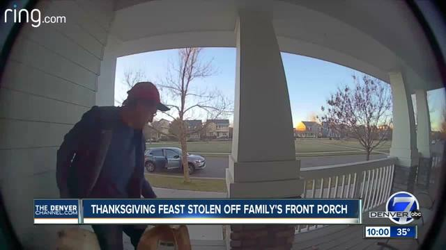 Porch pirate caught on camera stealing Colorado family-s Thanksgiving groceries