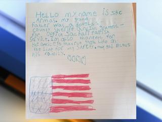 Boy writes heartfelt letter to deputy's family