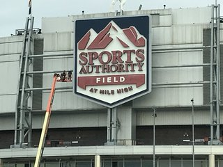 Sports Authority Field signage coming down