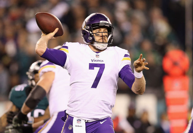 Philadelphia Pa January 21 Case Keenum 7 Of The Minnesota Vikings Looks To Pass Against The Philadelphia Eagles During The Second Quarter In The Nfc