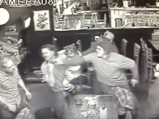 Man gets into bar brawl while holding daughter