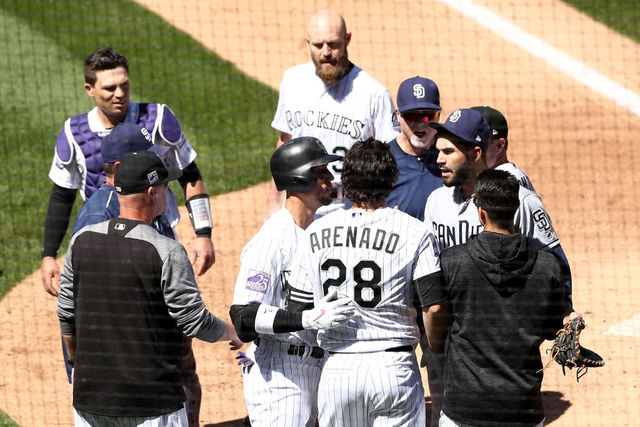 Bench-clearing brawl in Rockies-Padres game showcases Nolan Arenado's fabulous hair