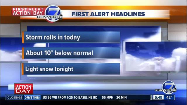 Rain and snow moves into Denver metro area Friday afternoon