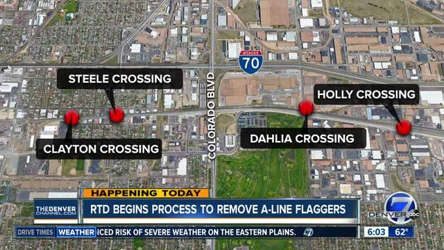 Flaggers at four A Line rail crossings to be removed Friday