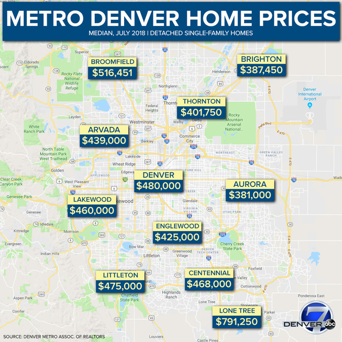 Metro Denver Map.From Arvada To Wheat Ridge Here S How Much Homes Cost In Metro Denver