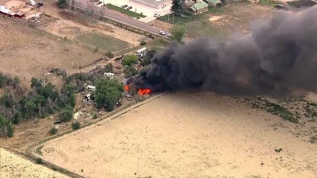 Large fire burning near Commerce City
