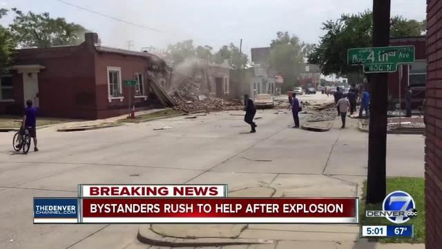 Natural gas explosion- building collapse injures 9 on Santa Fe Drive in Denver