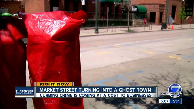 Red bagged meters along block of Market St- cutting off parking on the weekends