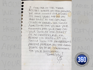 Woman gets nasty note for parking on her street