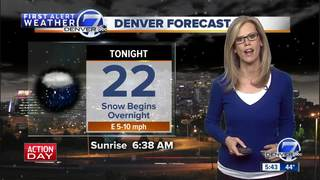 Highs in the 20s Sunday, with snow for Denver