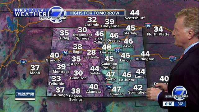 Denver will be in the 40s for the weekend- with 50s by Monday